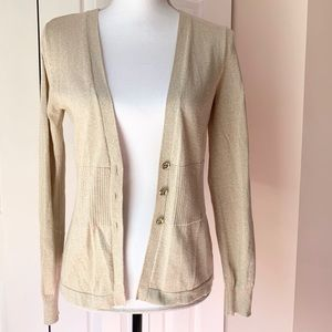 Gold Shimmer Cardigan with Gem Buttons